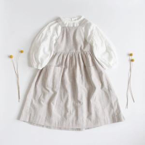 Puff sleeve blouse × Cotton linen apron...