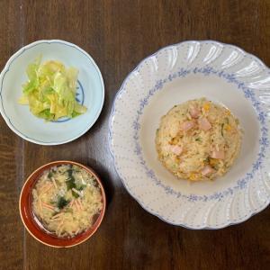 今日のお昼はハムたま飯を作りました