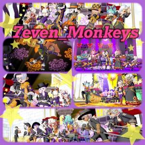 #7even_monkeys 🐒おばけなんてないさっ👻💓ハロウィンver🎃