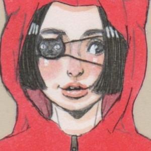 【女の子イラスト】赤い猫耳の半袖パーカーと短パン