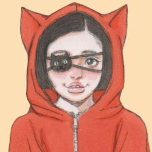 【女の子イラスト】猫パーカーの女の子アナログイラスト