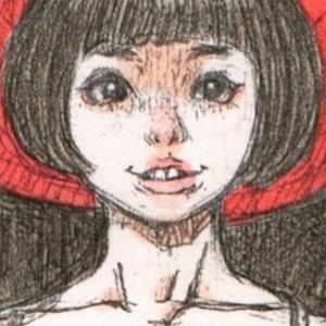 「月とうさ耳の女の子」のアナログイラスト