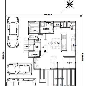 間取り変更②LDKにタタミコーナー【2階建て・3LDK:床面積28坪 西道路】