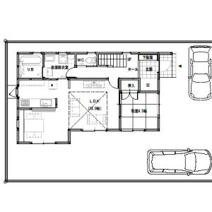 間取り変更①リビングに吹き抜けのある家【2階建て・4LDK:床面積32坪 東道路】
