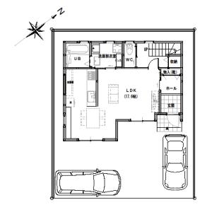 間取り変更①【2階建て・3LDK:30坪南道路】家事効率を考えた家