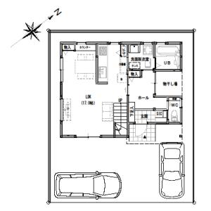 間取り変更③【2階建て・3LDK:30坪南道路】お外リビングのある家