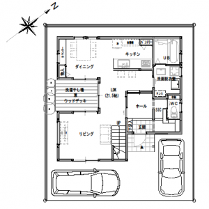 間取り変更④【2階建て・3LDK:30坪南道路】お外リビングのある家