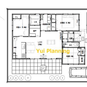 間取り変更④【平屋建て・3LDK:25坪東道路】坪庭のあるLDKがある家