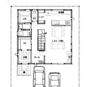 間取り変更①【2階建て・3LDK:30坪南道路 間口4間】LDK20帖の広さに。