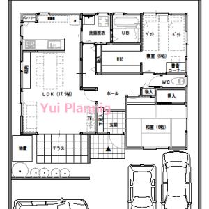 間取り変更②【平屋建て・2LDK:23坪南道路】LDKと和室で24帖