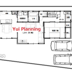 間取り変更①-3 東西に長い家 収納計画1F【2F建て・4LDK:33坪東道路】