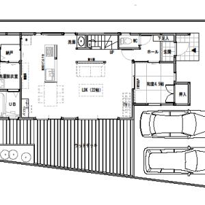 間取り変更④-1 32坪に近い間取り『東西に長い家』【2F建て・4LDK:33坪東道路