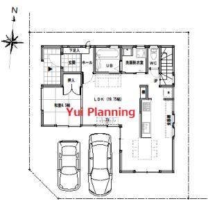 間取り変更①-3 収納計画②と小屋裏『角地に建つ家』【2F建て・4LDK:33坪南西道路】