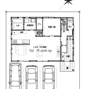 間取り変更①【2階建て・4LDK:床面積32坪 南道路】土間空間のある家