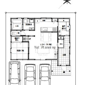 間取り変更②【2階建て・4LDK:床面積32坪 南道路】LDK19.25帖