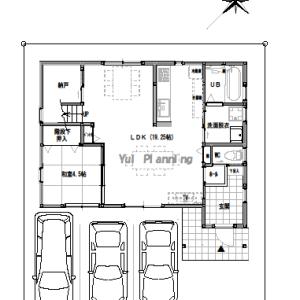 間取り変更③【2階建て・4LDK:床面積32坪 南道路】玄関に大きな収納