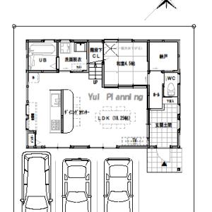 間取り変更④【2階建て・4LDK:床面積32坪 南道路】アイランドキッチンスタイル