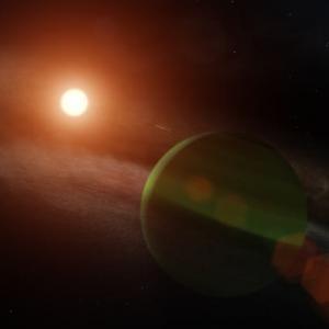 """まだ、微粒子の円盤が惑星と共存する""""けんびきょう座AU""""を観測すれば、惑星形成モデルのことが分かってくる。"""