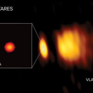 """電波望遠鏡で見た赤色超巨星アンタレスの大気""""彩層""""は分厚く低温だった"""