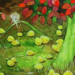 絵画販売・水彩画・原画「花梨の木の下で」