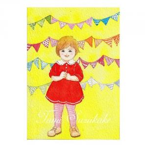 絵画販売・水彩画・原画「可愛い女の子・赤いワンピース」