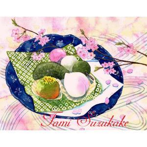 絵画販売・水彩画・原画「桜の花と和菓子」