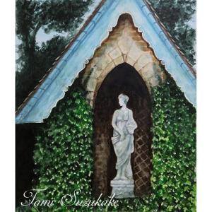 絵画販売・水彩画・原画「石像のある風景」
