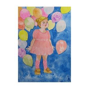 絵画販売・水彩画・原画「可愛い女の子・風船」