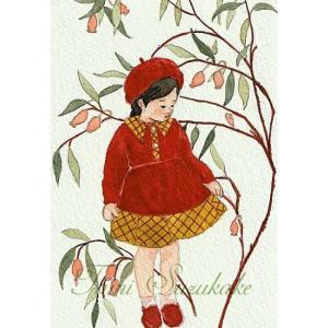 絵画販売・水彩画・原画「可愛い女の子・秋の花」