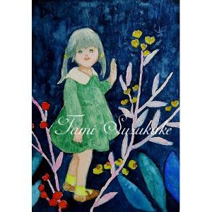 絵画販売・水彩画・原画「可愛い女の子・夜の花」