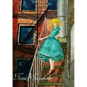 絵画販売・アートポスター「非常階段の少女」