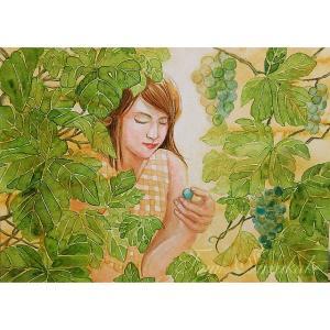 絵画販売・水彩・原画「葡萄畑で佇んで」