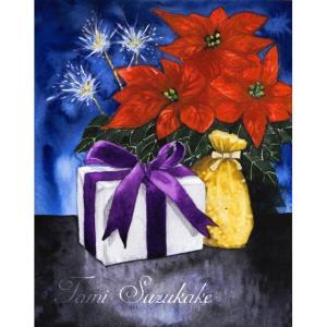 絵画販売・水彩・原画「ポインセチアとクリスマス」