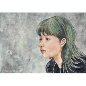 絵画販売・水彩画・原画「美人画・初冬」