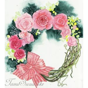 絵画販売・水彩画・原画「薔薇の花のリース」