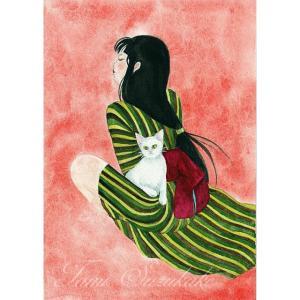 絵画販売・水彩画・原画「猫と女」