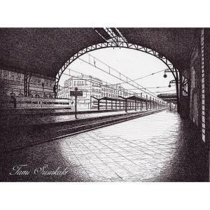 絵画販売・ペン画・原画「「スペインのバレンシアノルド駅」