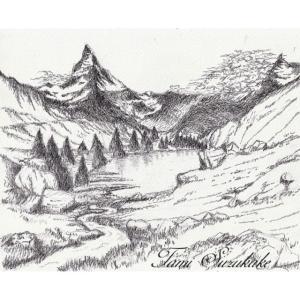 絵画販売・ペン画・原画「グリンジ湖とマッターホルン」