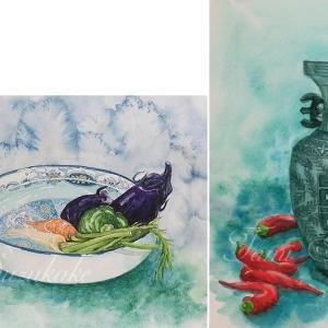 絵画販売・水彩・原画「夏野菜」「赤唐辛子と壺」