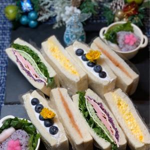サンドイッチ弁当&はなちゃん&庭の花たち