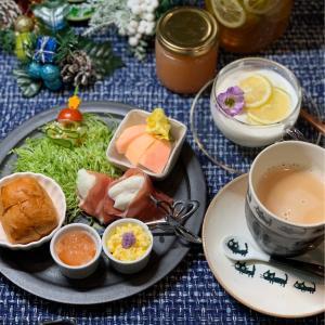 ワンプレート朝食&はなちゃん