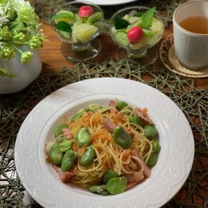 桜海老とそら豆のペペロンチーノ&猫&やまぼうし