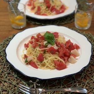 男の料理№82 トマトとバジルとホタテ貝柱の冷製パスタ