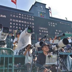 テレビ中継!ここにカメラが並ぶんです。この場所に・・甲子園球場の・・