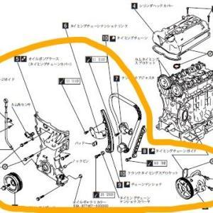 ジムニーJB23 エンジン分解整備2-オイルポンプケース(タイミングチェーンカバー)取り外し-