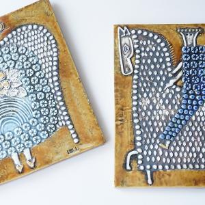 北欧ヴィンテージ/インテリア|GUSTAVSBERG(グスタフスベリ)リサ・ラーソンの陶版(ウォールプレート)