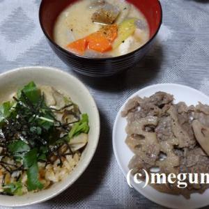 牡蠣ご飯&粕汁&牛肉とれんこんのからし煮の晩御飯