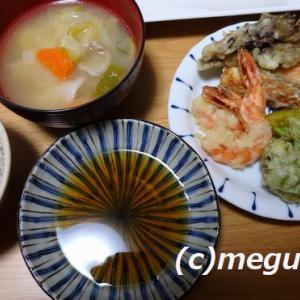春野菜の天ぷらの夕食