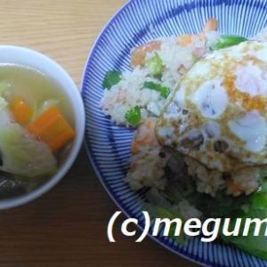 我が家の十八番 海老レタス炒飯&野菜たっぷりスープ