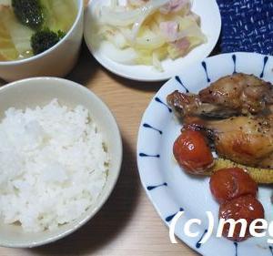 オーブン料理 鶏手羽元とプチ野菜のロースト&さっぱりポテトサラダの夕食